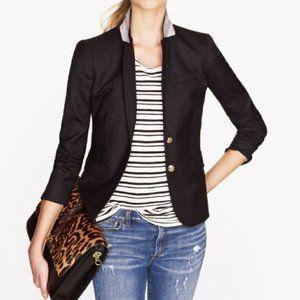 J. CREW Black Wool Schoolboy Blazer Jacket Size 8